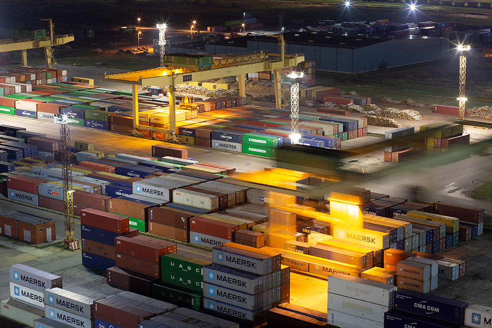 Containers in night